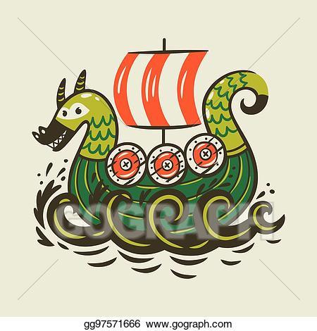 Viking dragon clipart png library download EPS Vector - Cartoon ship. scandinavian viking drakkar ... png library download