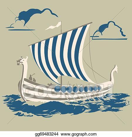 Viking ship on land clipart graphic freeuse Vector Art - Viking ship. EPS clipart gg69483244 - GoGraph graphic freeuse
