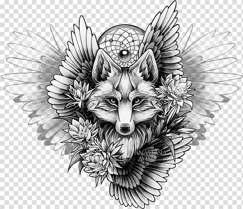Viking tatto clipart banner free stock Gray wolf with feather , Sleeve tattoo Drawing Fox Sketch ... banner free stock