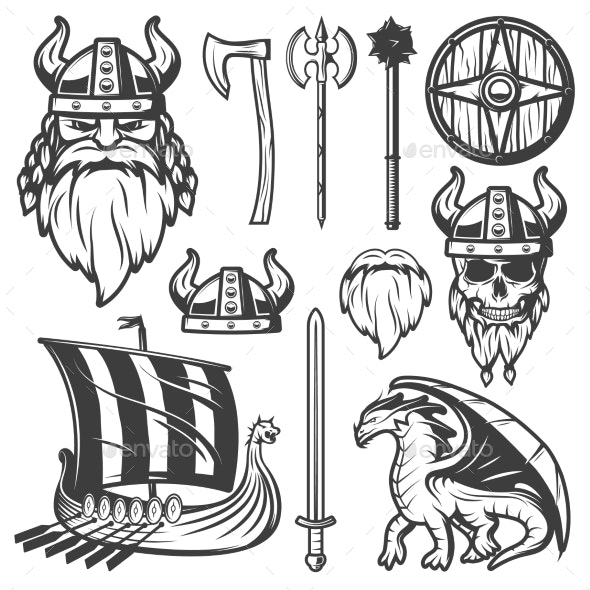 Viking top element clipart black graphic free Vintage Viking Icon Set graphic free