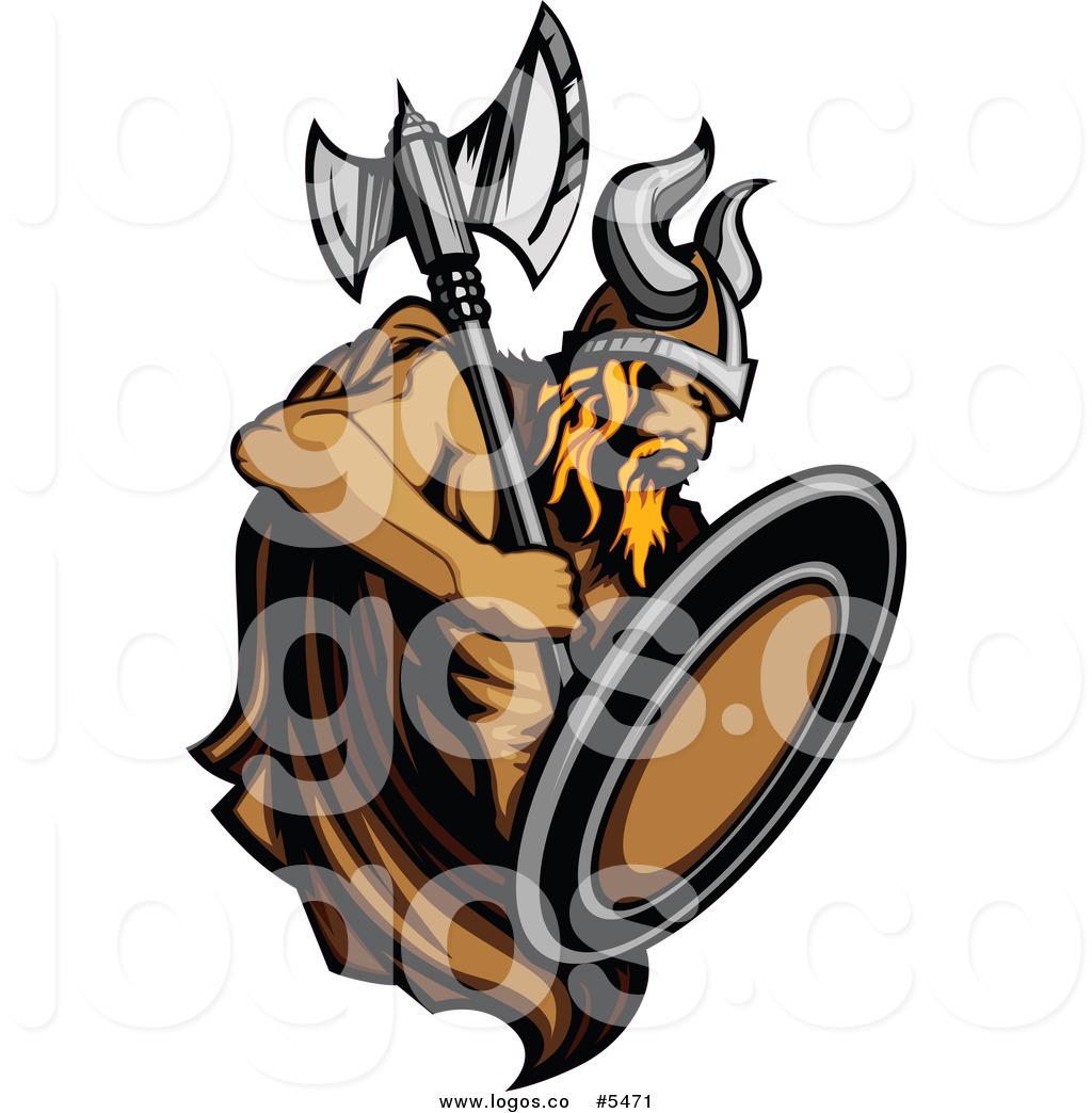 Viking warrior shield clipart image free Royalty Free Vector of a Logo of a Strong Viking Warrior ... image free