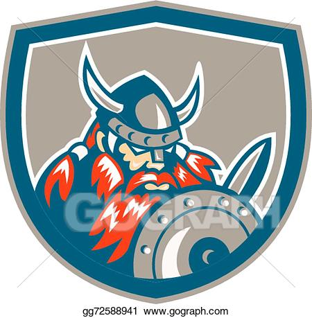 Viking warrior shield clipart image transparent Vector Clipart - Viking raider barbarian warrior shield ... image transparent