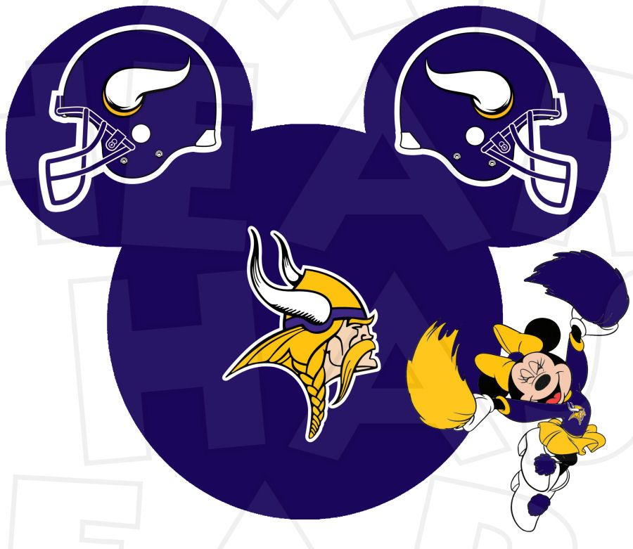 Vikings wide receiver clipart clip black and white Minnesota Vikings football with Minnie Mouse cheerleader ... clip black and white