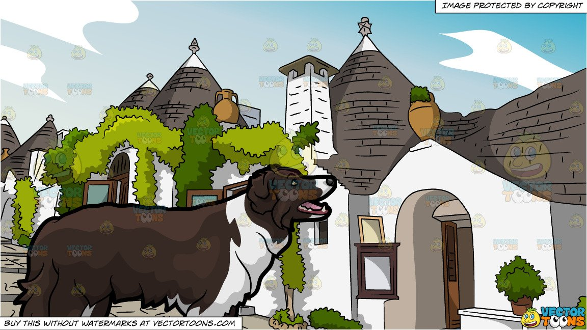 Village border clipart svg free stock An Attentive Border Collie Dog and Small European Village Background svg free stock