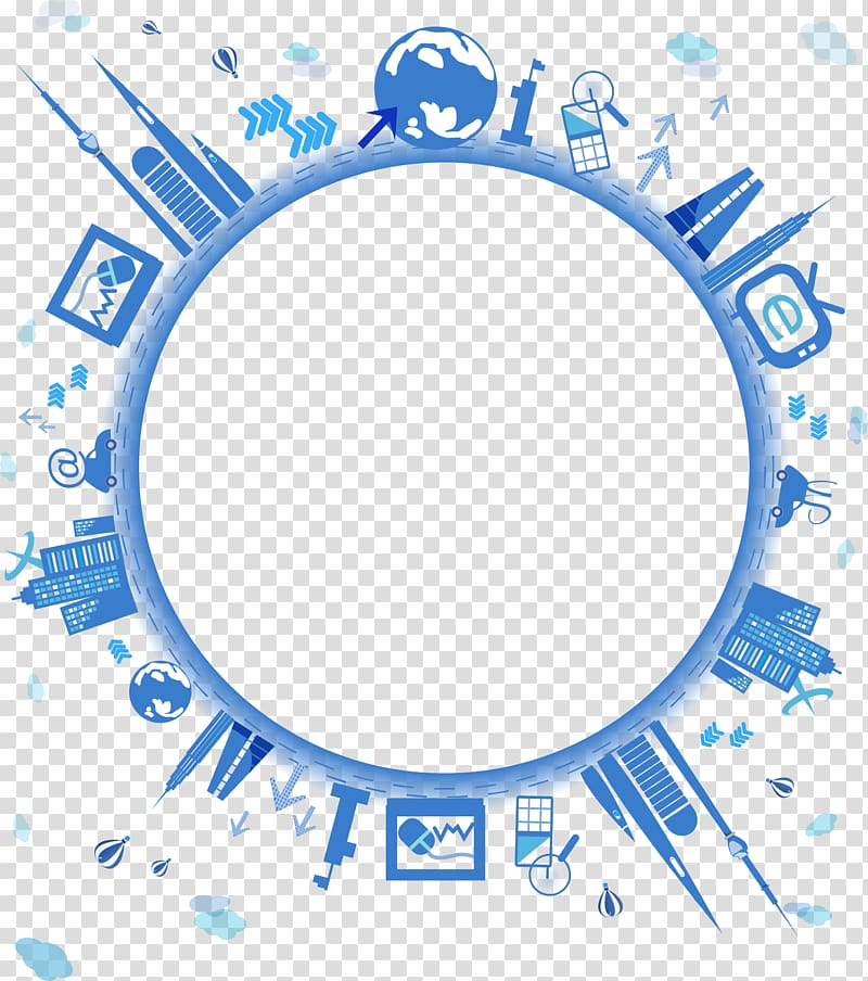 Village border clipart vector library Round blue buildings illustration, Global network Icon ... vector library