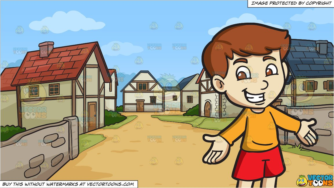 Village boy clipart image royalty free A Cheerful Boy and A Small Medieval Village Background image royalty free