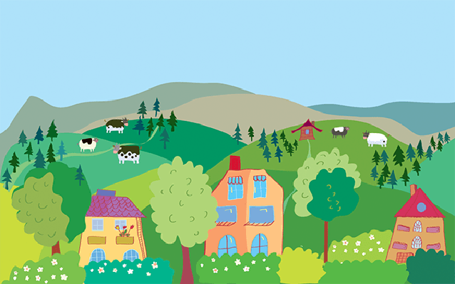 Village clipart pictures banner freeuse stock Landscape with Mountain Hills, Cows, Trees, Village ... banner freeuse stock