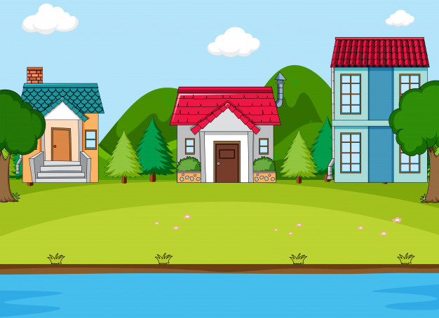 Village in spring clipart svg freeuse library Simeple countryside village scene Free Vector - Nohat svg freeuse library