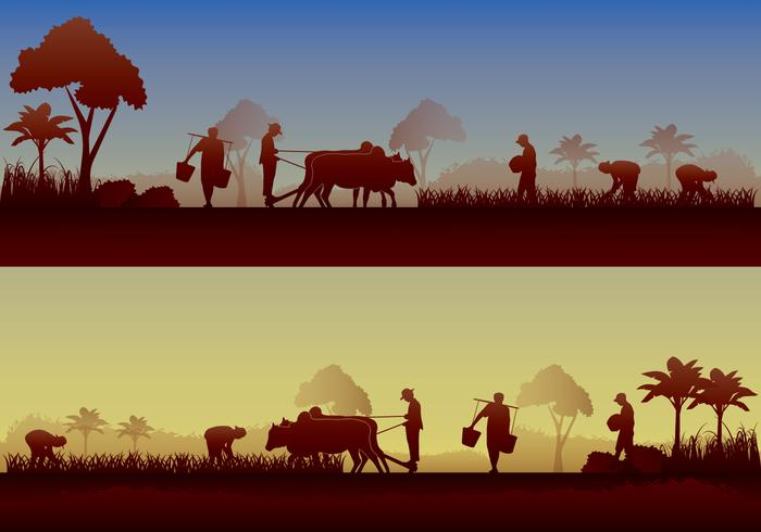 Village skyline clipart clipart royalty free Asian Farmer Silhouette - Download Free Vectors, Clipart ... clipart royalty free