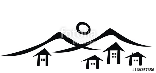 Village skyline clipart clip stock Mountain village, vector icon, black silhouette\