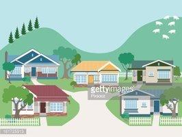 Villas clipart vector freeuse stock Villas and Bungalow Houses IN Suburban Street stock vectors ... vector freeuse stock