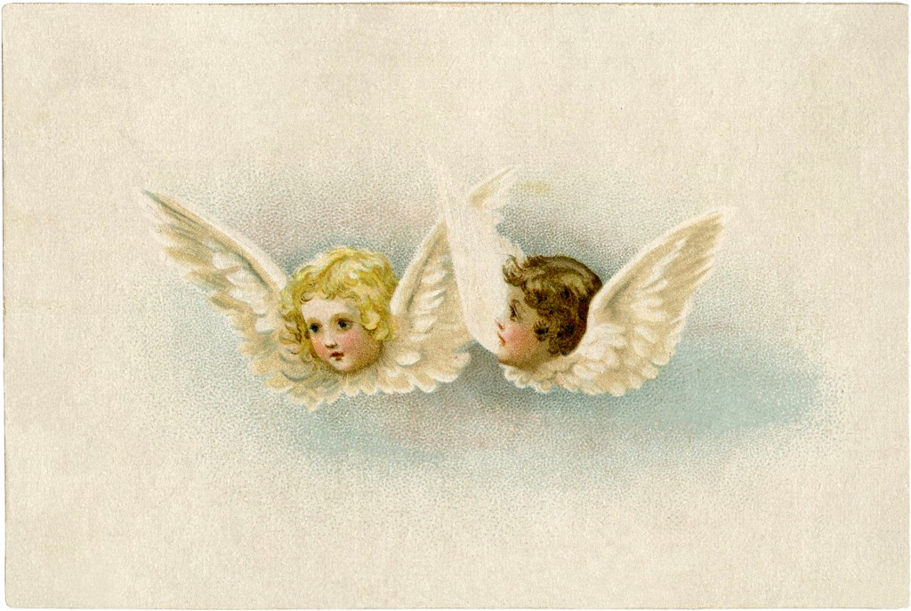 Vinatage angels with candle clipart freeuse stock Free Vintage Angels Clip Art - Sweet! - The Graphics Fairy freeuse stock
