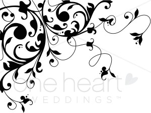 Vine flourish clipart banner royalty free download Black and White Scrolling Vine Flourish Clipart | Wedding ... banner royalty free download