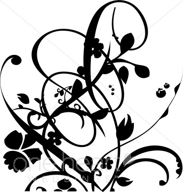 Vine flourish clipart clipart black and white download Black and White Vine and Floral Flourish Clipart | Wedding ... clipart black and white download