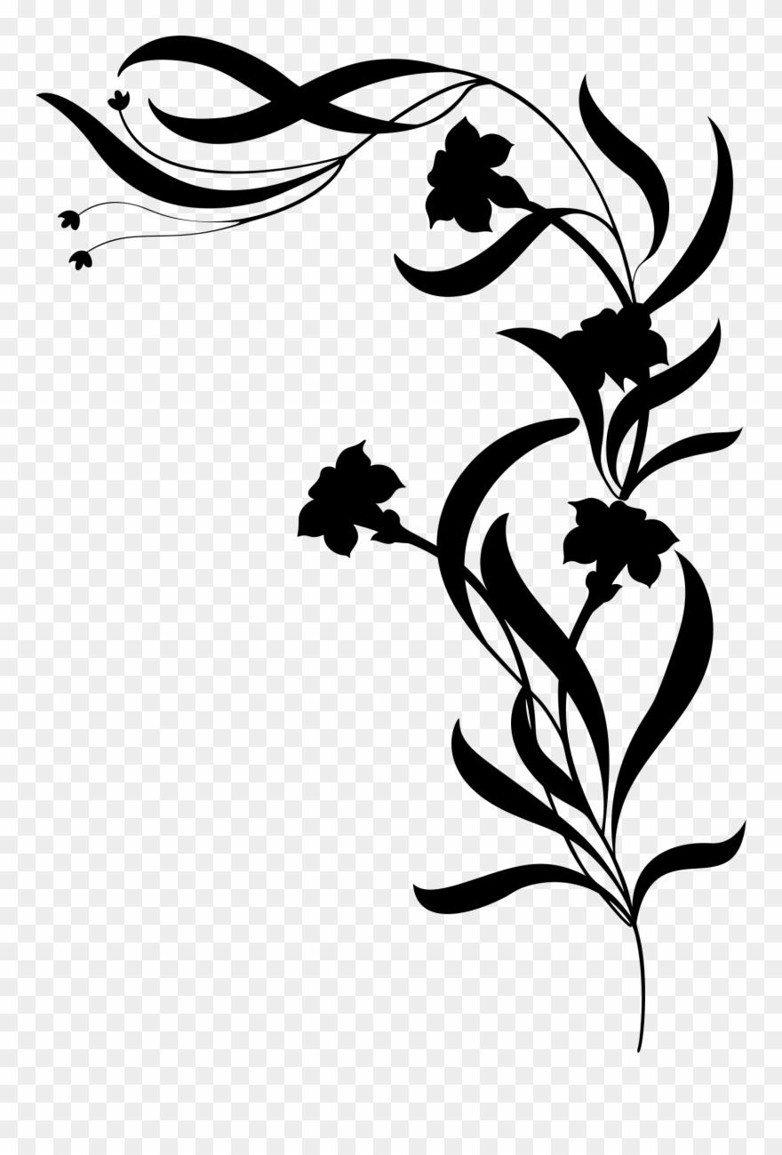 Vine flowers clipart vector transparent Flower Vine Silhouette Png Clipart (#1166486) - PinClipart vector transparent
