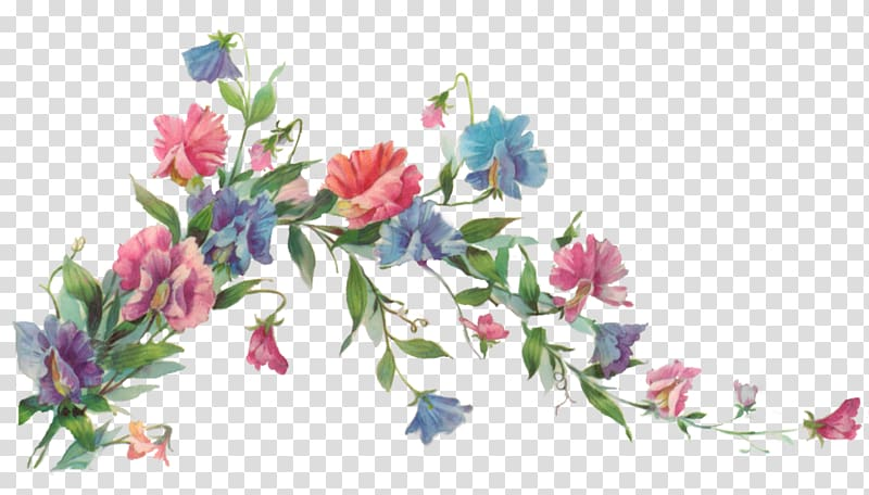 Vine flowers clipart clipart black and white library Flower Paper Painting , Flower vine, pink and blue flowers ... clipart black and white library
