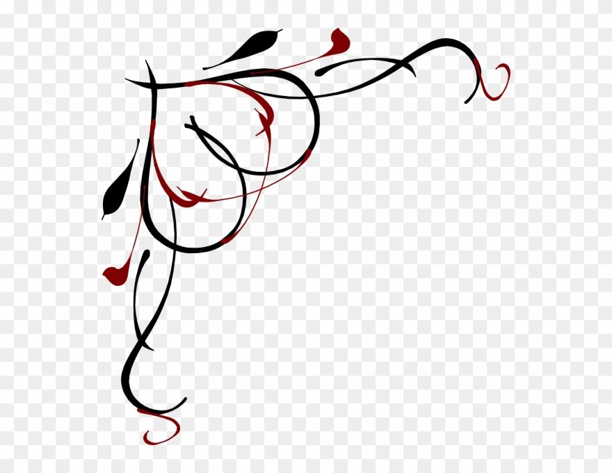 Vine png corner clipart white clip art black and white library Heart Vine Corner Red And Black Clip Art At Clker - Vine ... clip art black and white library