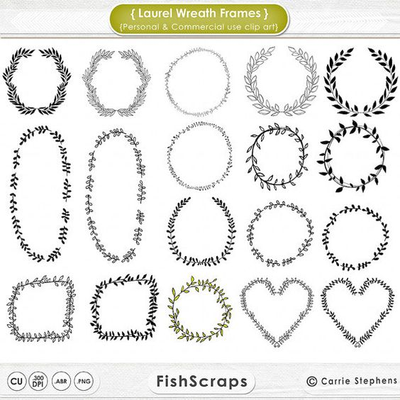Vine wreath clipart jpg jpg freeuse download 75% SALE Laurel Wreath Frame Clip Art, Digital Stamps, PNG Images ... jpg freeuse download