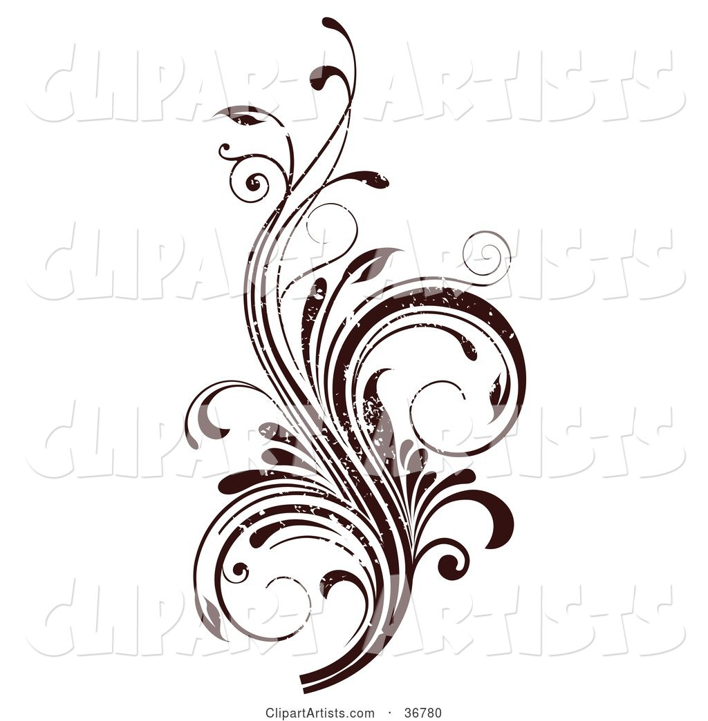 Vines and scrolls clipart clipart free download Dark Brown Grunge Textured Curly Vine Scroll Design Element ... clipart free download