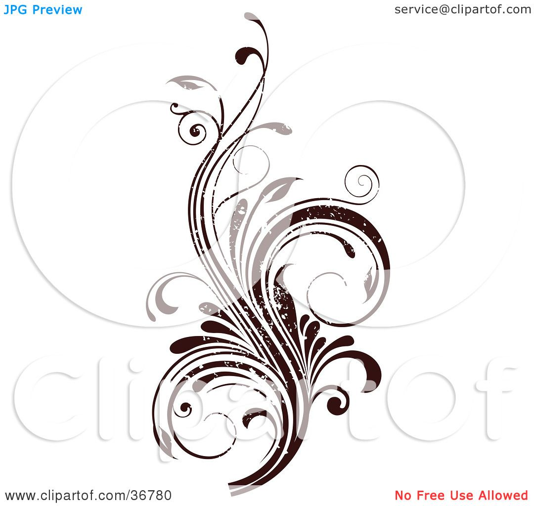 Vines and scrolls clipart jpg freeuse Clipart Illustration of a Dark Brown Grunge Textured Curly ... jpg freeuse