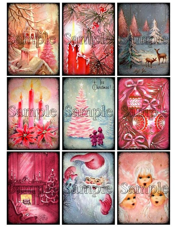 Vingage cards and gifts clipart banner free library PINK CHRISTMAS Digital Collage Sheet Download Printable Clipart Gift Hang  Tags Journal Cards ATC Scrapbooking Vintage Retro Shabby Images banner free library