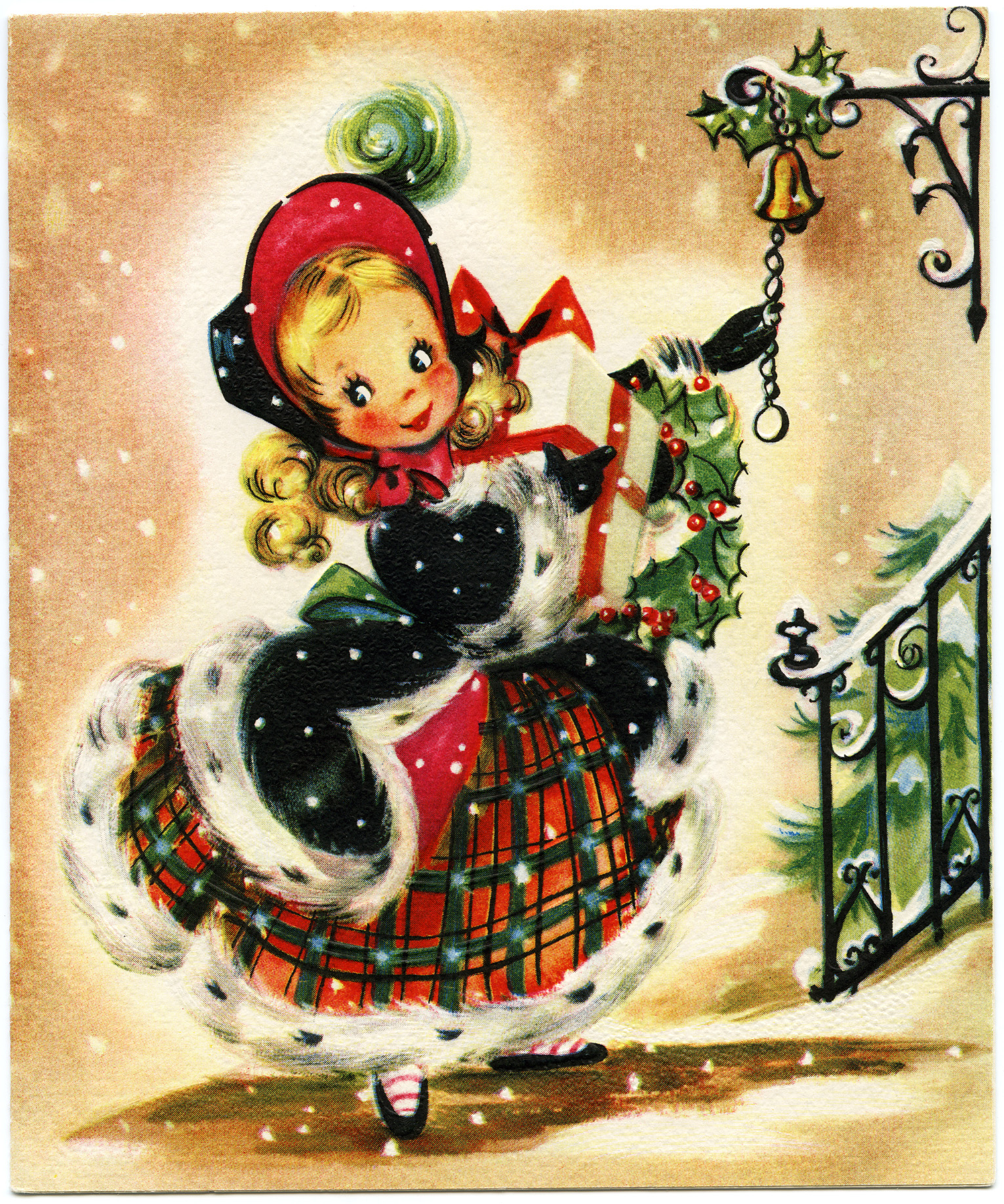 Vingage cards and gifts clipart image library stock Girl with Gift Vintage Christmas Card - Old Design Shop Blog image library stock