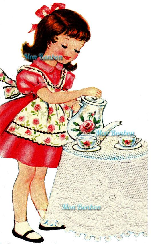 Vingage cards and gifts clipart clipart freeuse Cute Retro Tea Time Little Girl Illustration .PnG - DIY ... clipart freeuse