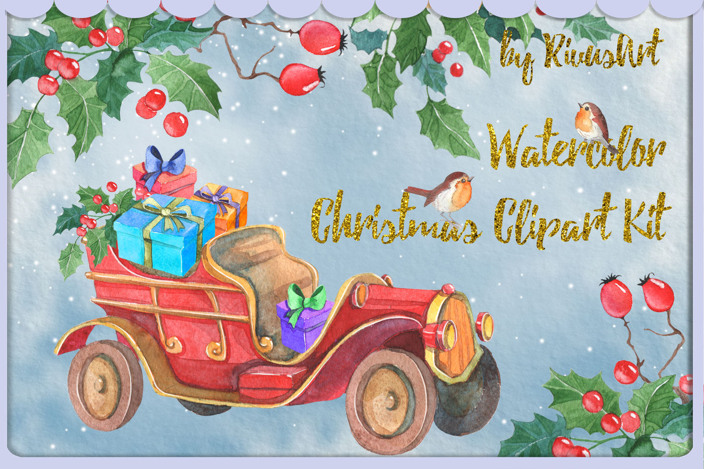 Vingage cards and gifts clipart clip royalty free Christmas watercolor clipart vintage car with gifts and ... clip royalty free