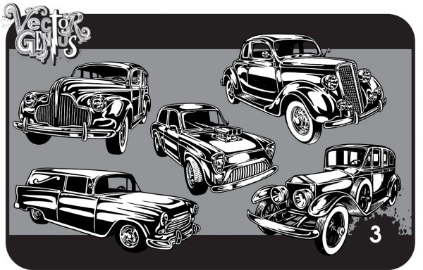 Vintag ecar clipart clipart library Vintage Cars Clip Art Hand Drawn Vector Pack clipart library
