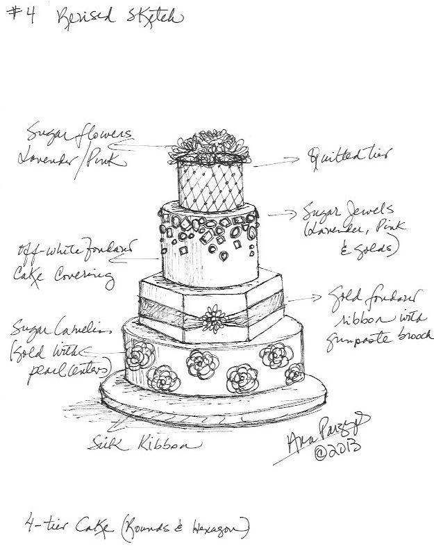 Vintage 3 tier 60 anniversary cake clipart png clip art freeuse library Custom Wedding Cake Sketch by Ana Parzych www ... clip art freeuse library