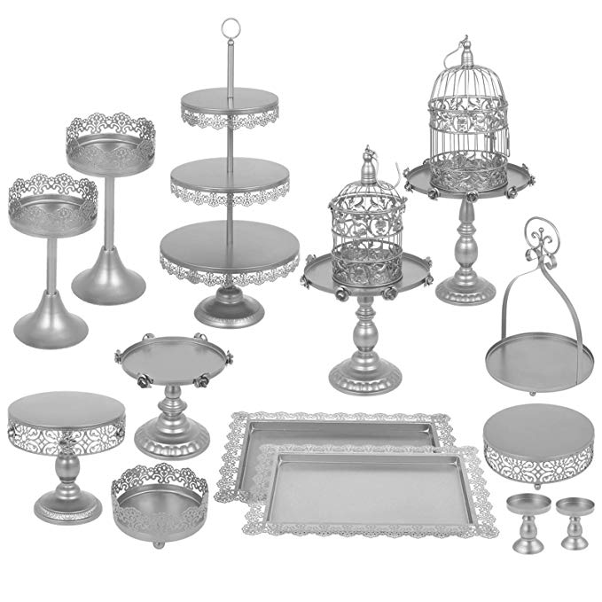 Vintage 3 tier 60 anniversary cake clipart png clip free stock Happybuy Set of 14 Antique Metal Cake Stand Set 3-Tier Tower Cake Plate  Cupcake Base Basket Dessert Cage Cupcake Stands Pastry Cake Holder for  Wedding ... clip free stock