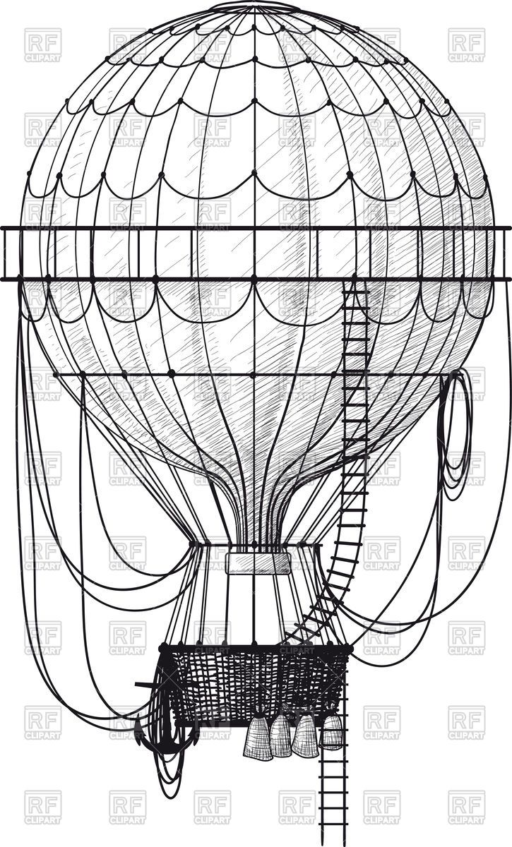 Vintage air balloon clipart free graphic Vintage hot air balloon with ladder Vector Image – Vector ... graphic