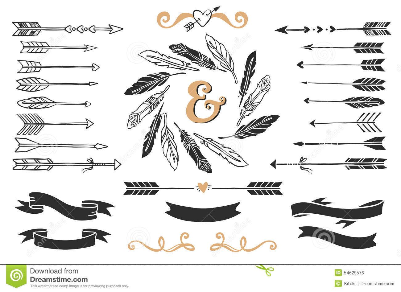 Vintage hand arrow clipart jpg freeuse stock Hand Drawn Vintage Arrows, Feathers, And Ribbons With ... jpg freeuse stock