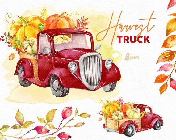 Vintage autum clipart graphic transparent Harvest Truck. Watercolor autumn clipart, pumpkins, car ... graphic transparent