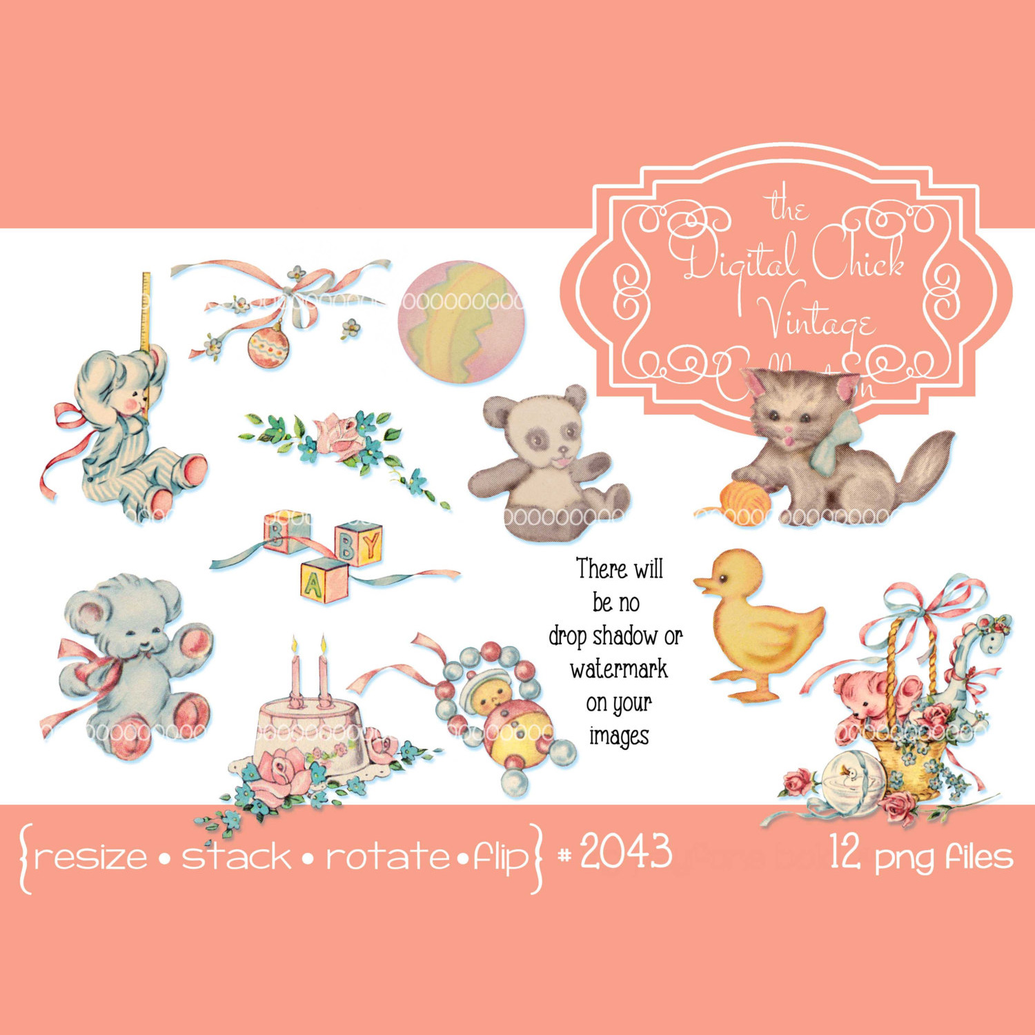 Vintage baby rattle clipart graphic freeuse download Vintage Little Girl Boy Clipart, baby toys, birthday cake, teddy bear,  kitten, duck graphic freeuse download