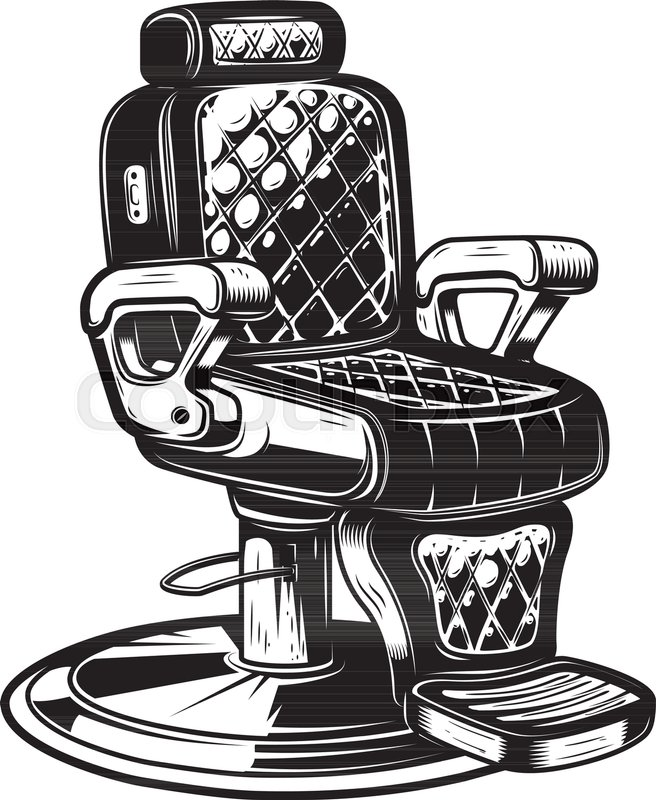 Vintage barber chair clipart clip transparent download Barber chair illustration on white ... | Stock vector ... clip transparent download
