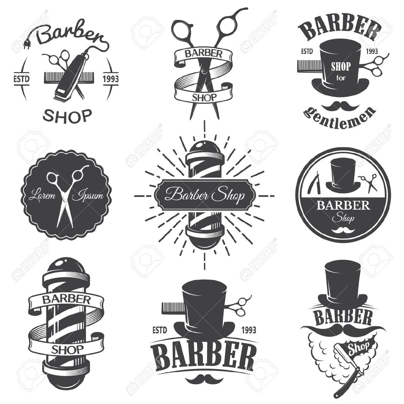 Vintage barber clipart transparent library Stock Vector | Barbershop in 2019 | Barber shop, Barber ... transparent library