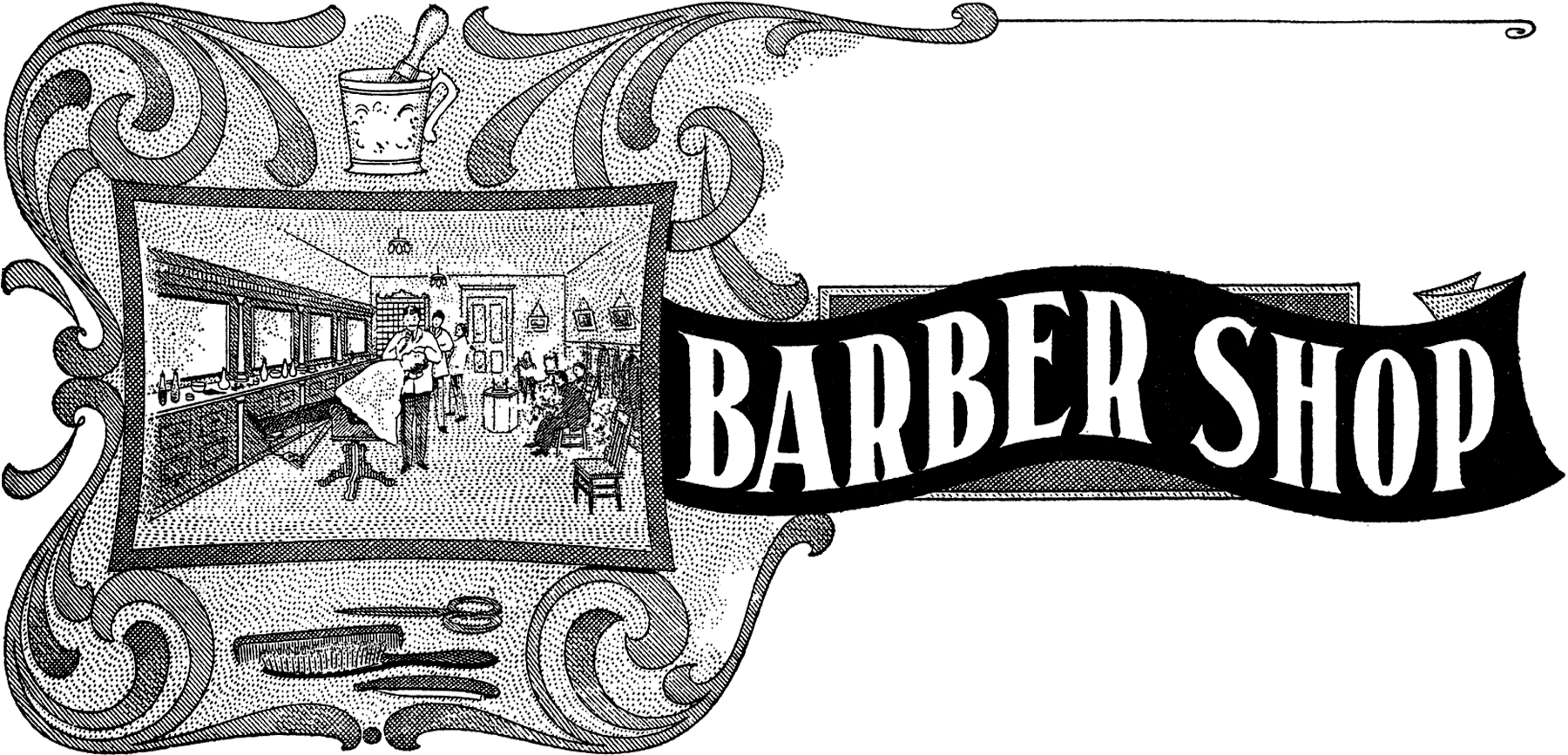 Vintage barber shop clipart graphic black and white stock Vintage Barber Shop Sign Image! - The Graphics Fairy graphic black and white stock