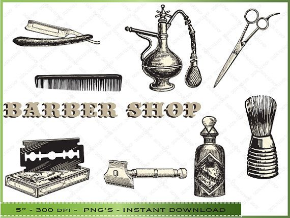 Vintage barber shop clipart graphic freeuse stock Digital Barber Shop Clipart / Vintage Hair by ... graphic freeuse stock
