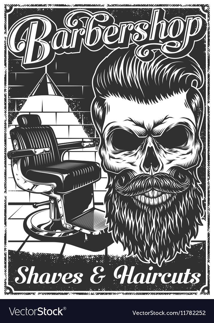Vintage barber shop clipart clip library stock Vintage barbershop poster with barber chair and clip library stock