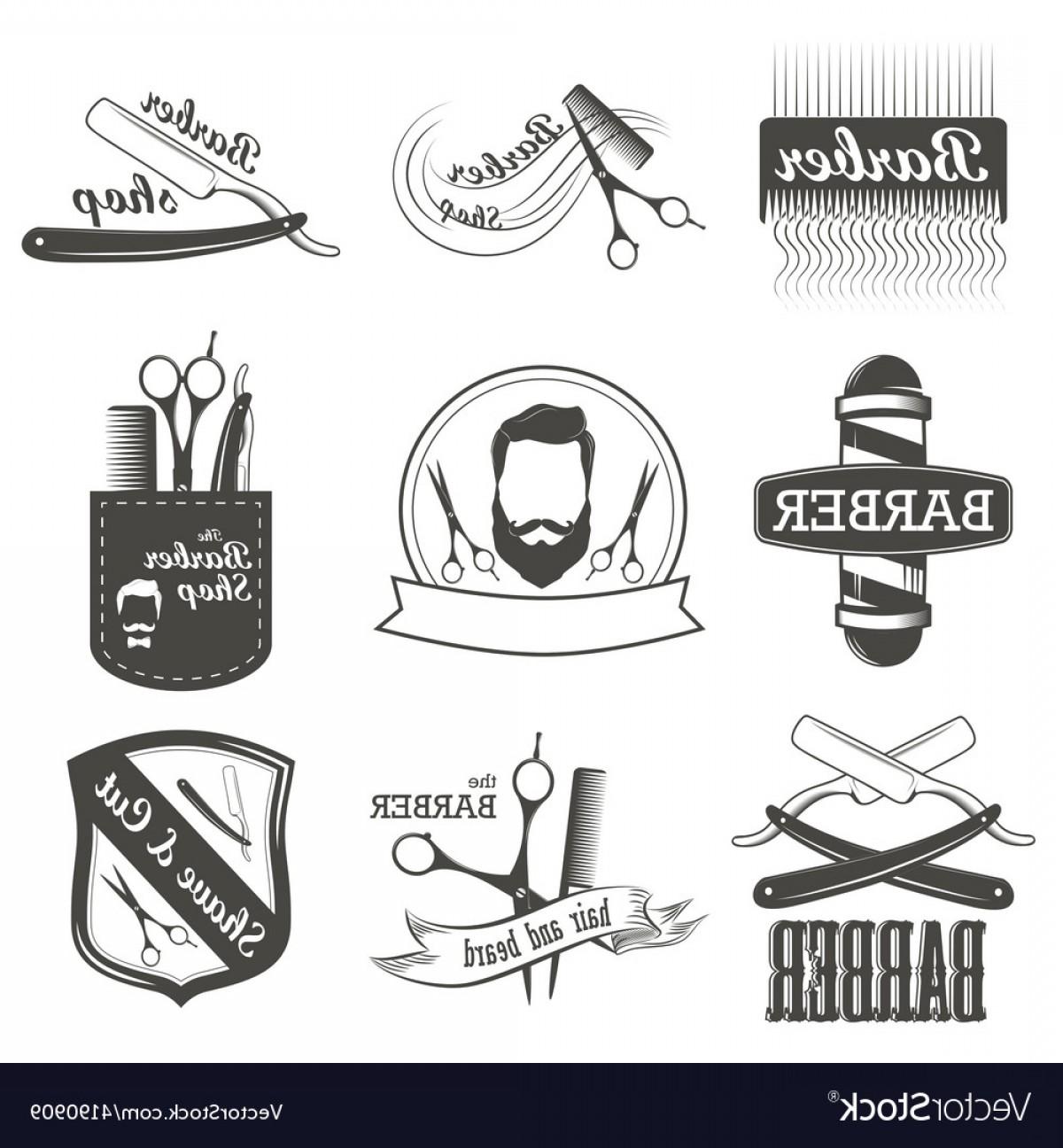 Vintage barber shop clipart graphic free download Set Of Vintage Barber Shop Logo Labels Badges Vector   SOIDERGI graphic free download