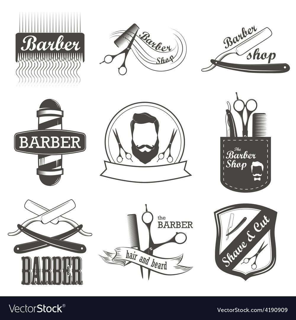Vintage barber shop clipart banner free library Set of vintage barber shop logo labels badges banner free library