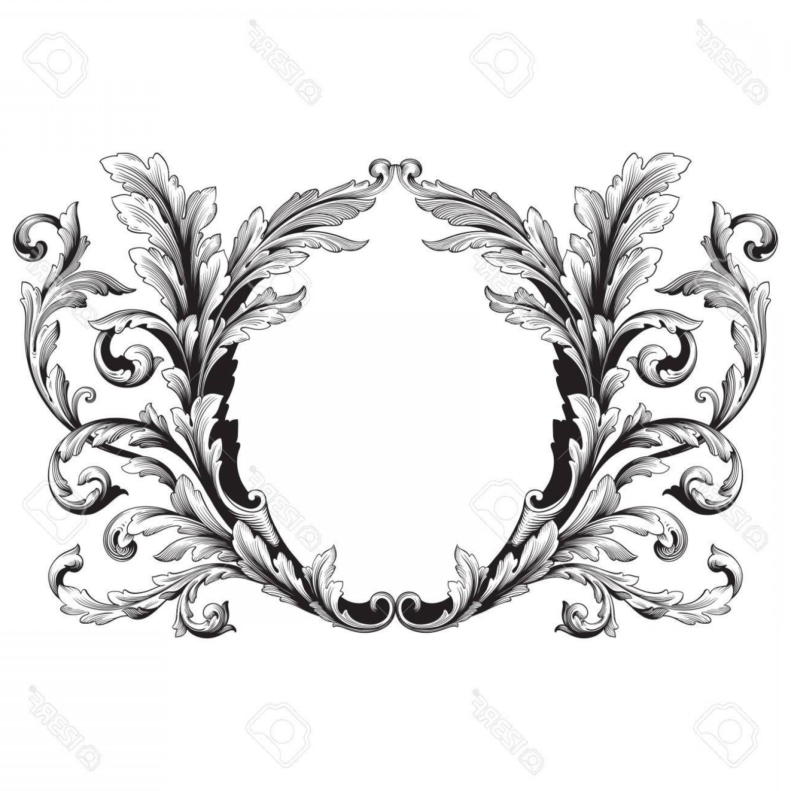 Vintage baroque clipart picture black and white Photostock Vector Vintage Baroque Frame Scroll Ornament ... picture black and white