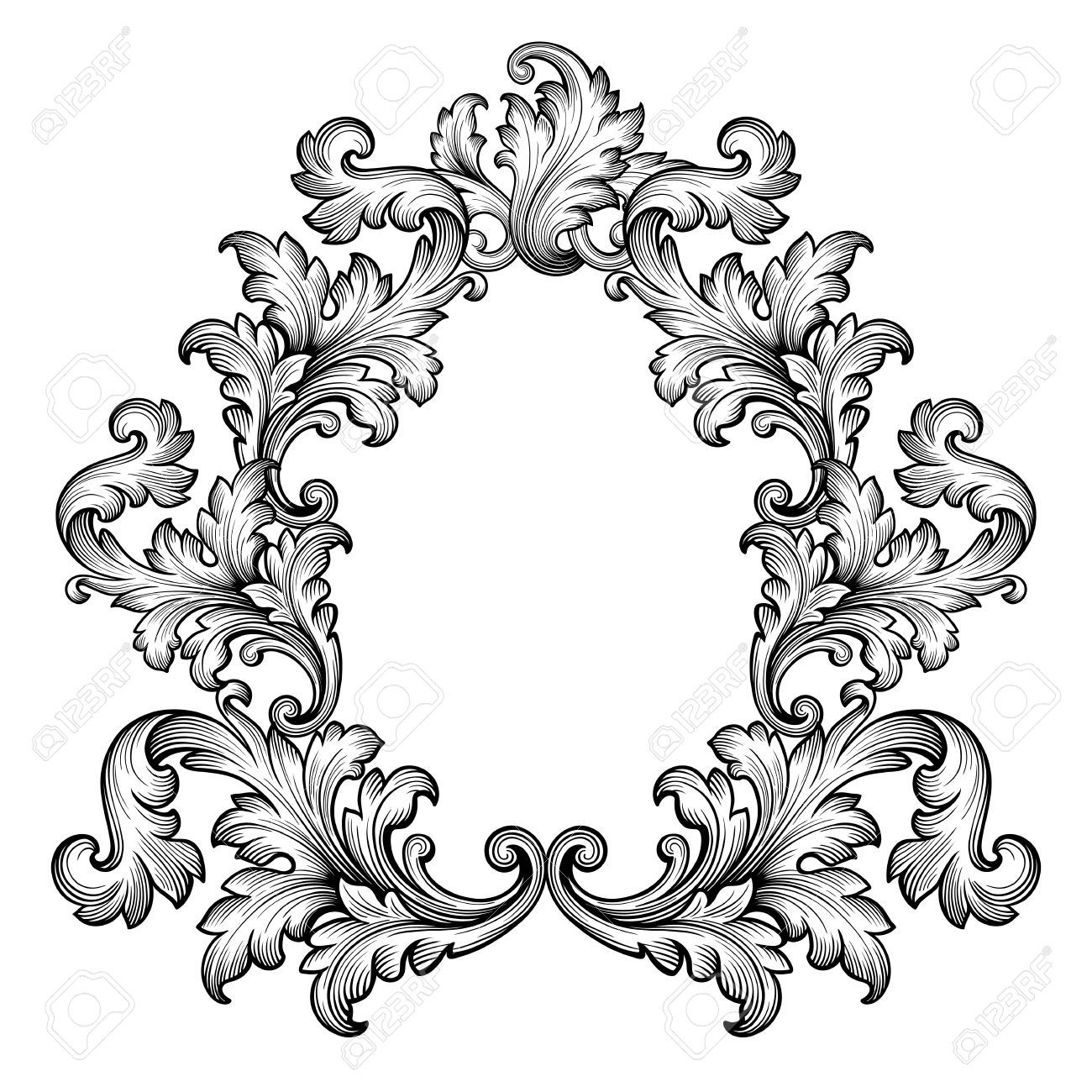 Vintage baroque clipart free download Stock Vector   Baroque Ornaments   Ornament drawing, Hand ... free download