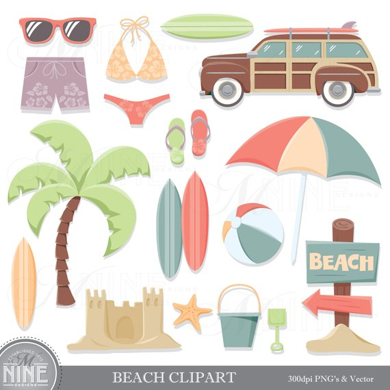 Vintage beach clipart banner free library Vintage BEACH Clip Art / Beach Theme Clipart Download ... banner free library