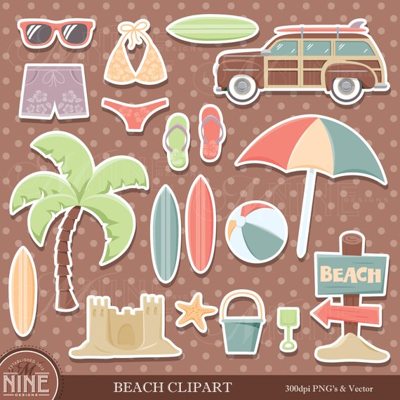 Vintage beach clipart clipart free download Vintage BEACH Sticker Clip Art / Beach Theme Clipart ... clipart free download