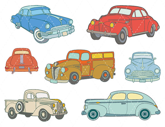 Vintage beach racing car clipart clip art freeuse Digital Vintage Car Clip Art Antique Car ClipArt Retro Car ... clip art freeuse