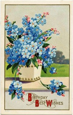 Vintage birthday card clipart clipart royalty free Victorian postcard graphics, vintage birthday postcard, blue ... clipart royalty free