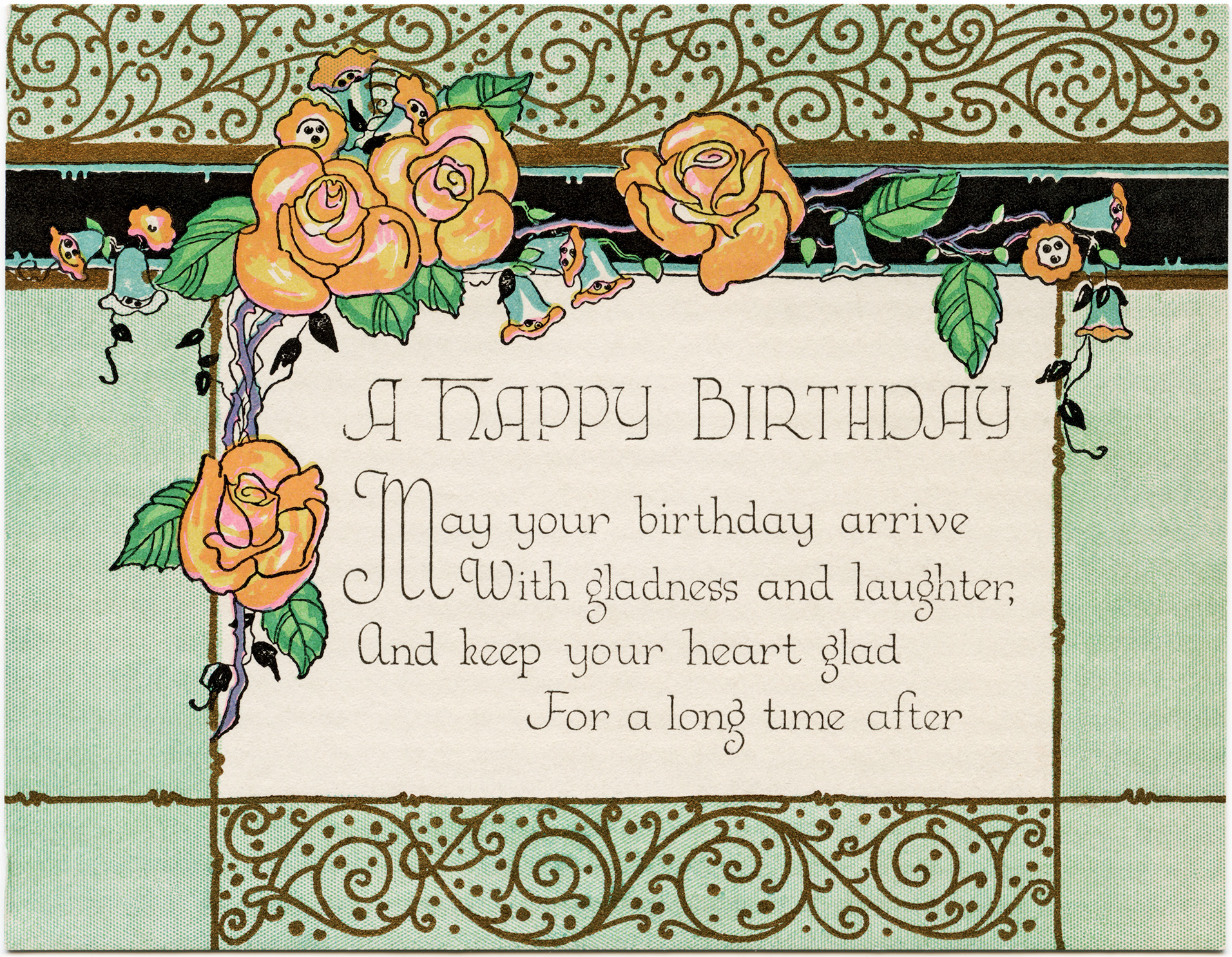 Vintage time card clipart graphic royalty free stock Art Deco Birthday Card ~ Free Download - Old Design Shop Blog graphic royalty free stock