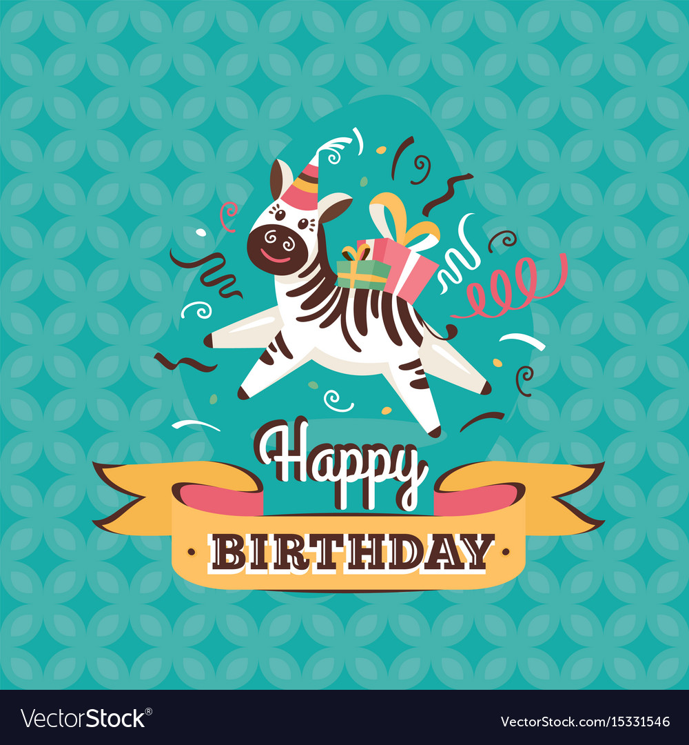 Vintage birthday card clipart banner black and white library Vintage birthday greeting card with zebra banner black and white library